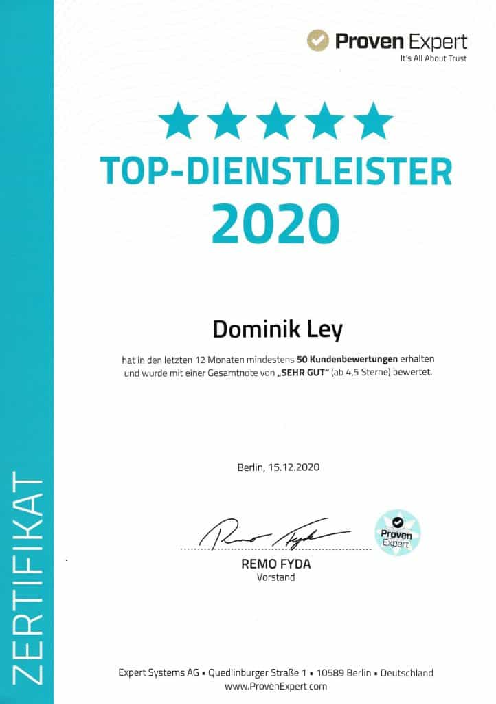 Proven Expert Top Dienstleister 2020