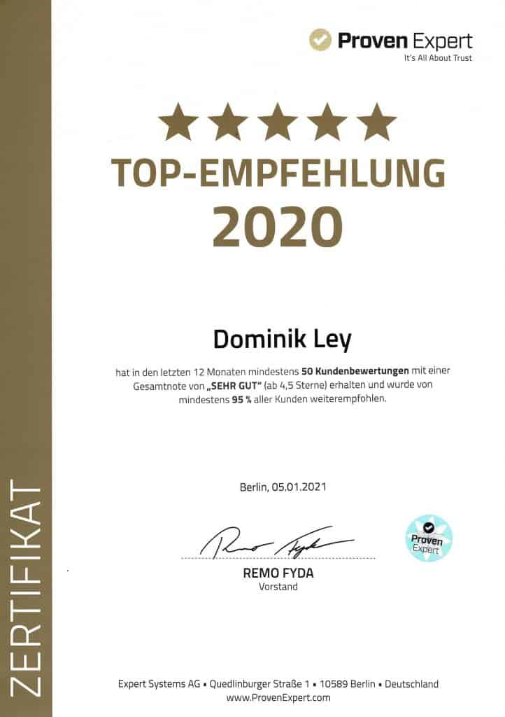 ProvenExpert Top-Empfehlung 2020