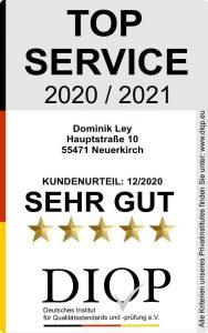"""Dominik Ley erhält Zertifizierung """"Top Service"""""""